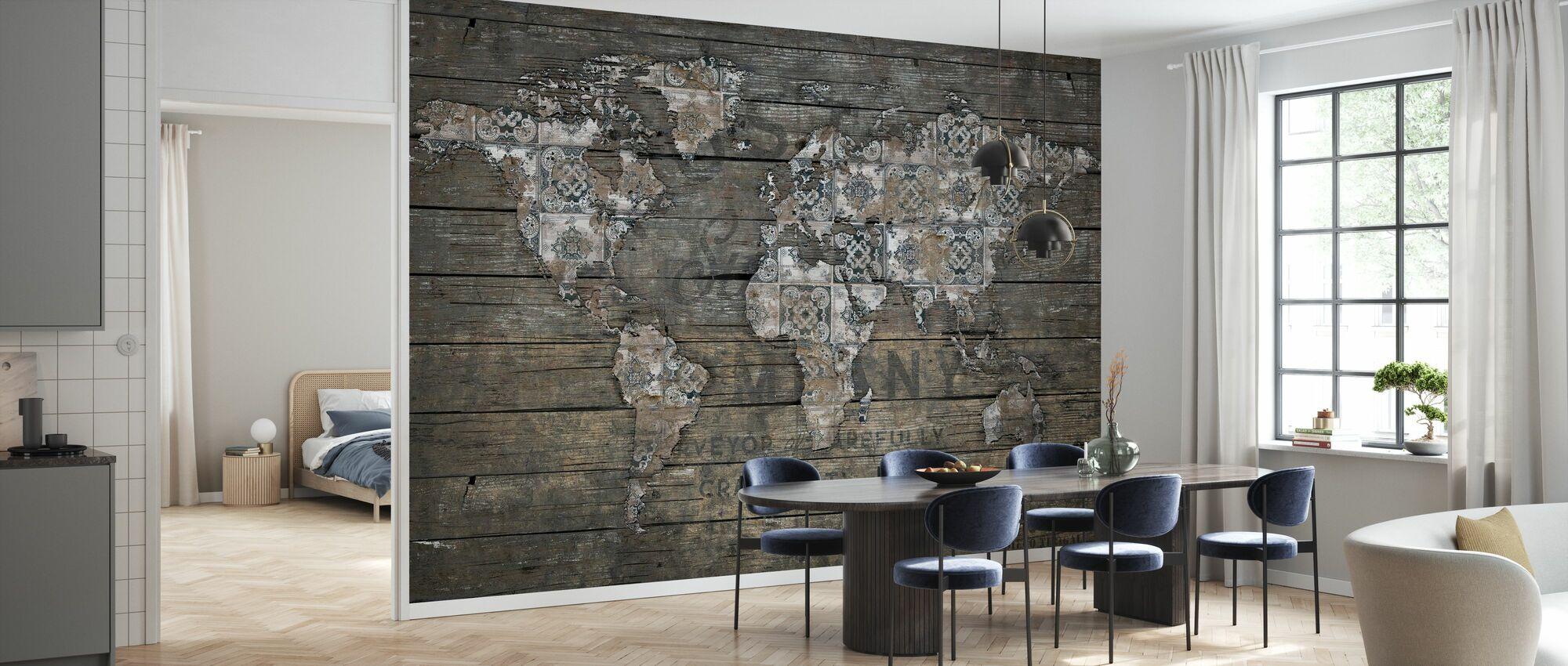 Rustic World Map - Wallpaper - Kitchen
