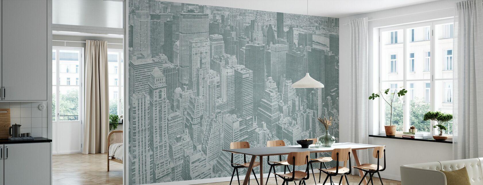 Manhattan Uitzicht - Groen - Behang - Keuken