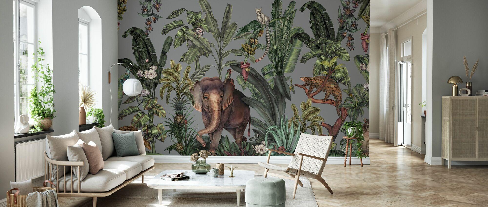 Jungle Kingdom - Grey - Wallpaper - Living Room