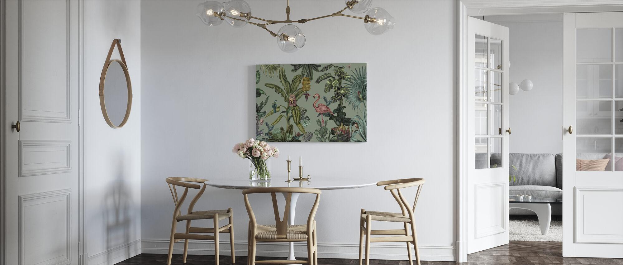 Monkeys with Birds - Light Green - Canvas print - Kitchen