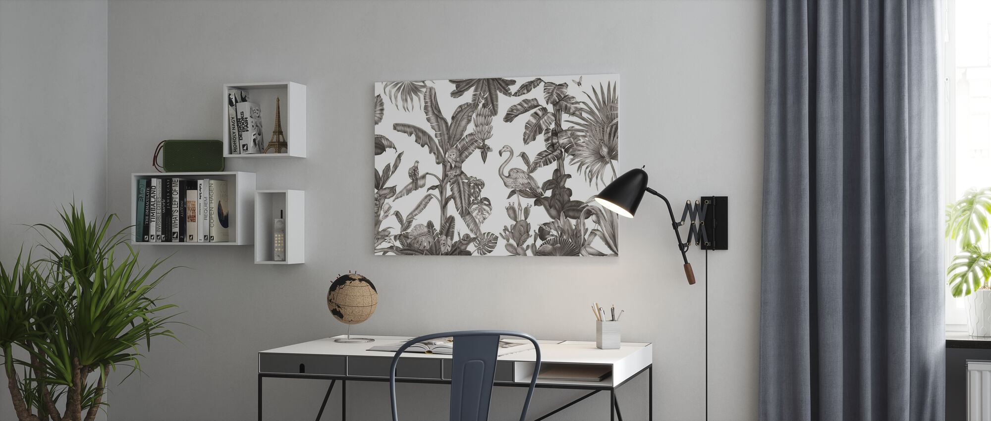 Monkeys with Birds - White and Black - Canvas print - Office