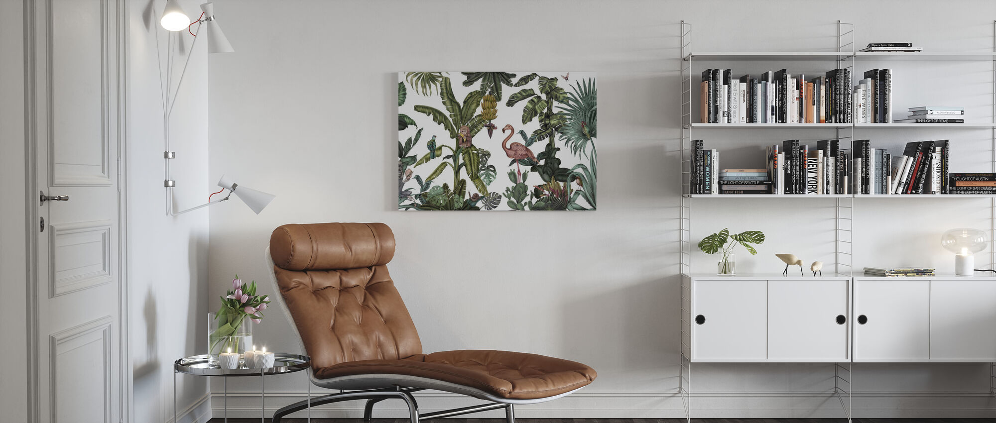 Monkeys with Birds - White - Canvas print - Living Room
