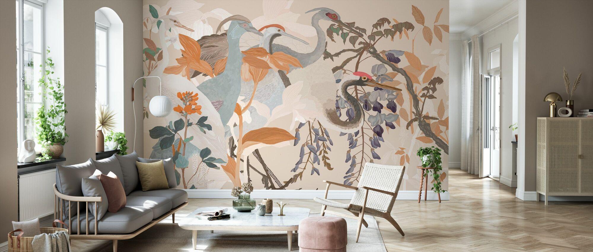 Curious Cranes - Wallpaper - Living Room