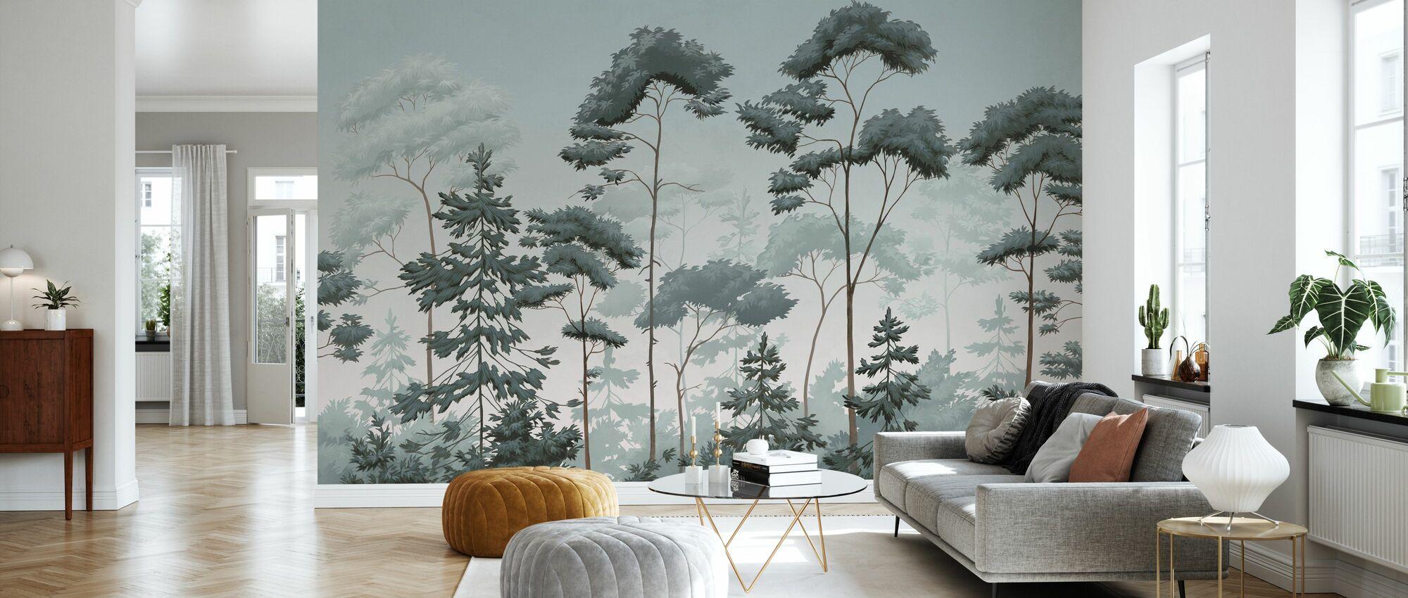 Scandinavian Woodland - Green Blue - Wallpaper - Living Room