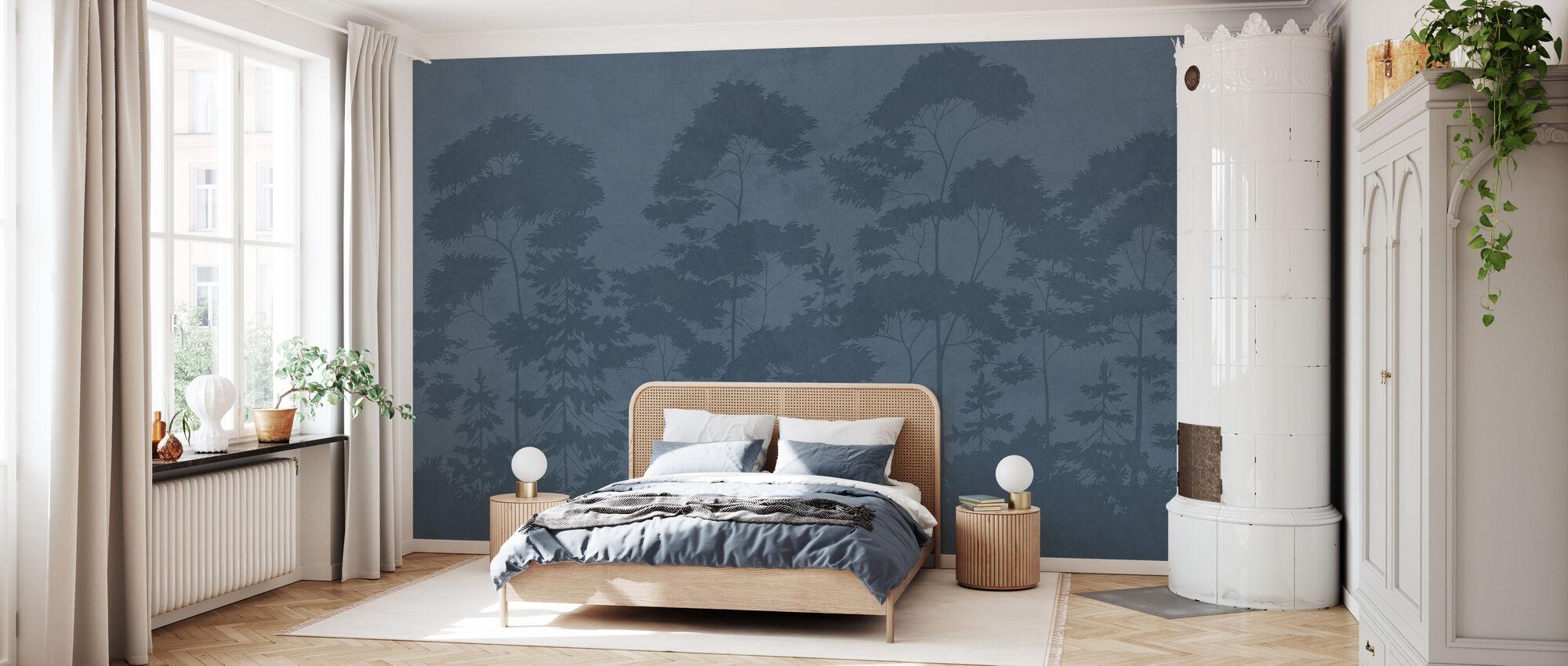 Scandinavian Woodland - Navy Blue - Wallpaper - Bedroom