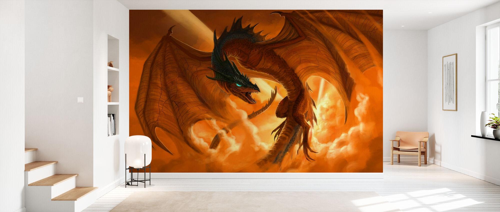 Draken flyger i molnen vid soluppgången - Tapet - Hall