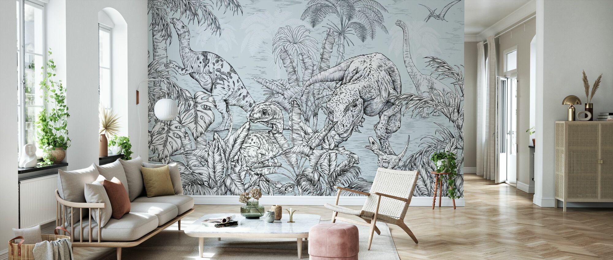 Dinosaur World - Light Blue - Wallpaper - Living Room