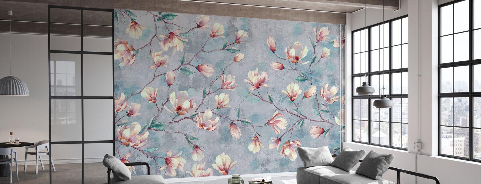 Magnolia Takken Gebarsten Muur - Behang - Kantoor