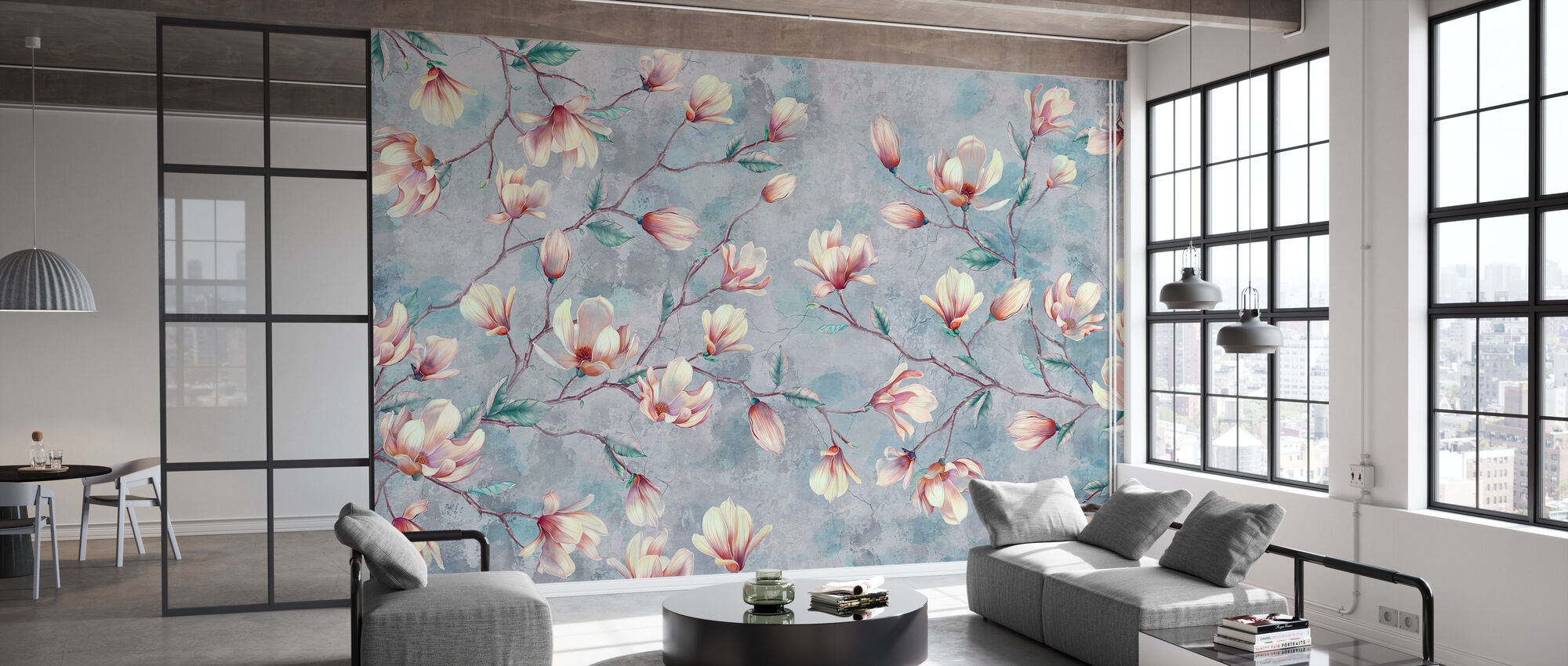 Magnolia Branches Cracked Wall - Wallpaper - Office