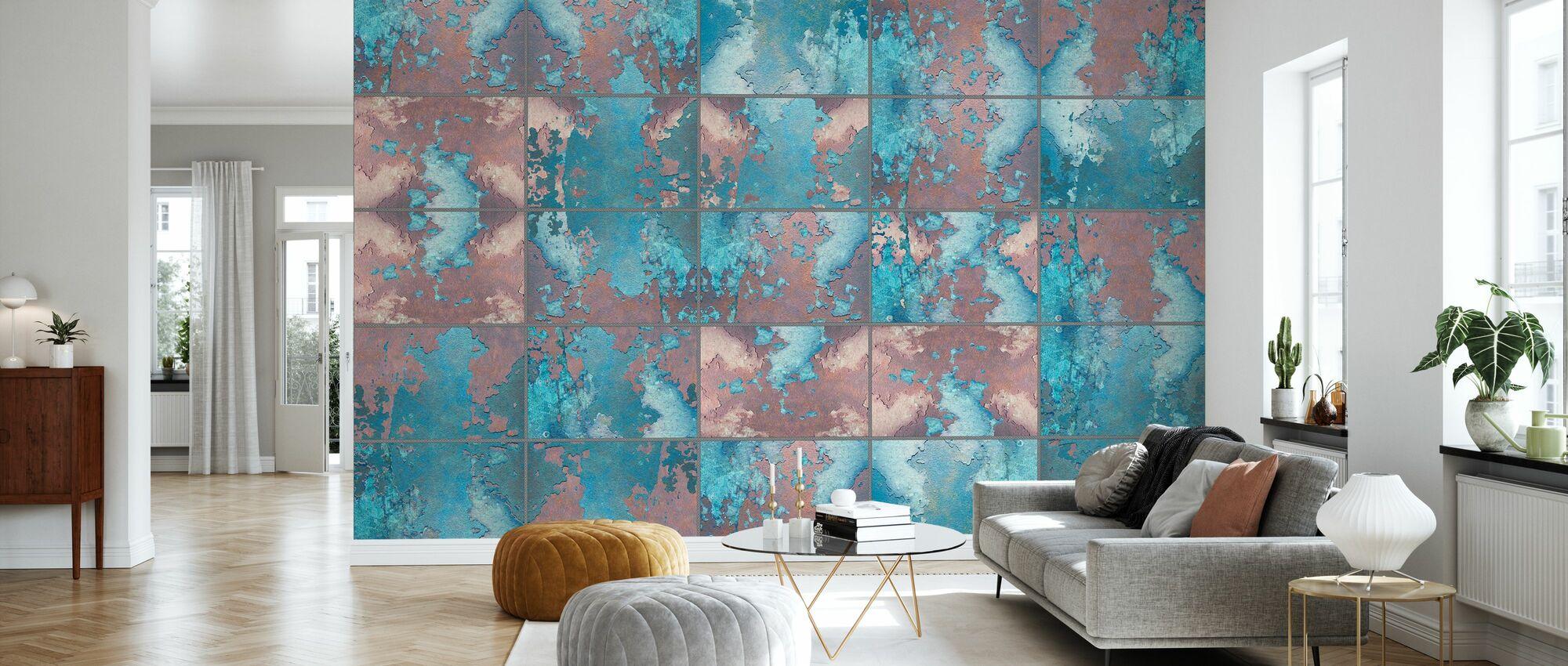 Rustic Metal Wall Panels - Wallpaper - Living Room