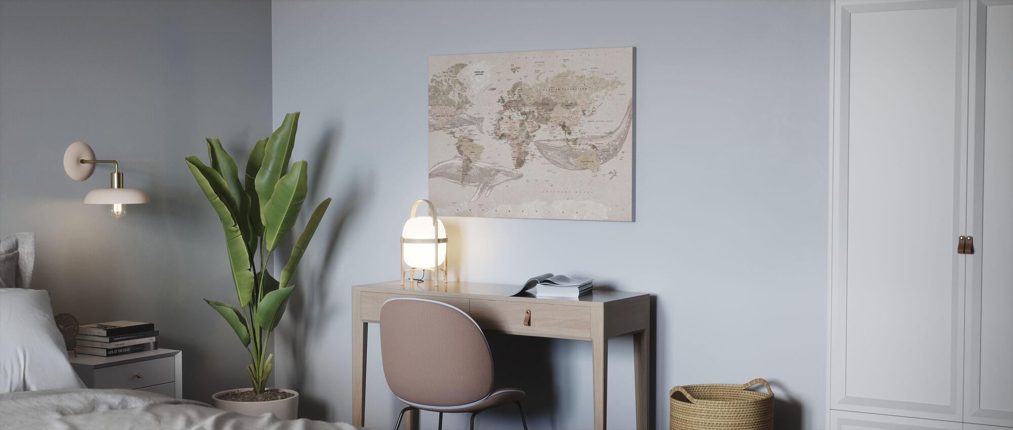 Walvis Kaart - Beige - Canvas print - Kantoor
