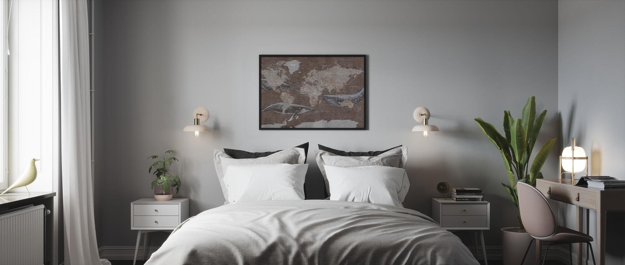 Walvis Kaart - Bruin - Poster - Slaapkamer
