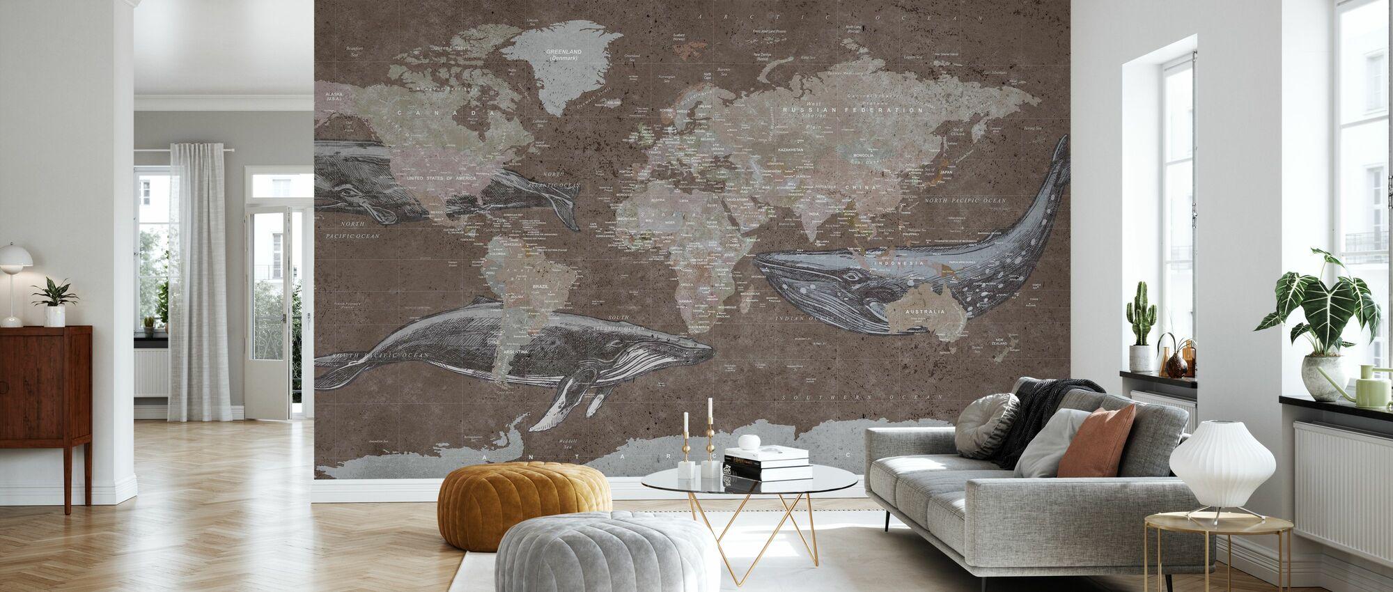 Whale Karte - Brown - Tapete - Wohnzimmer