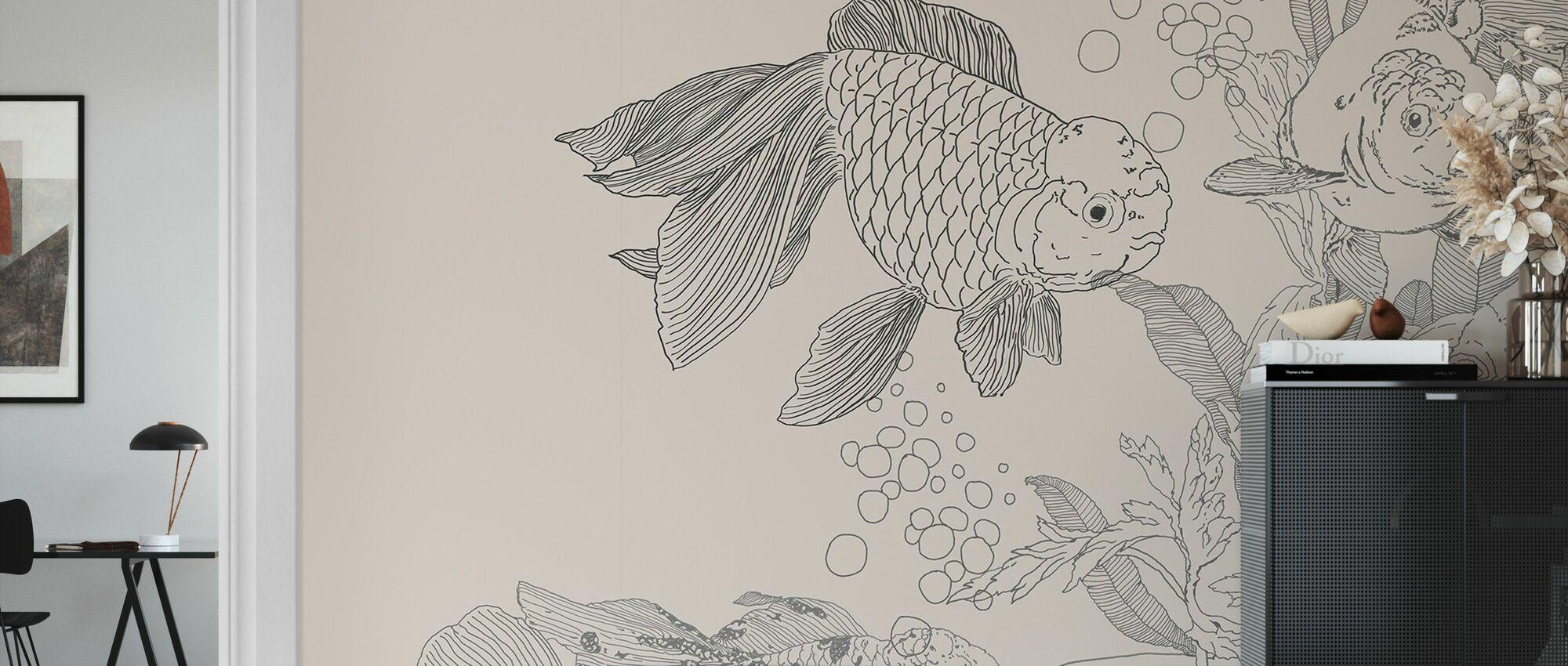 Monde des poissons rouges - Beige - Papier peint - Salle à manger