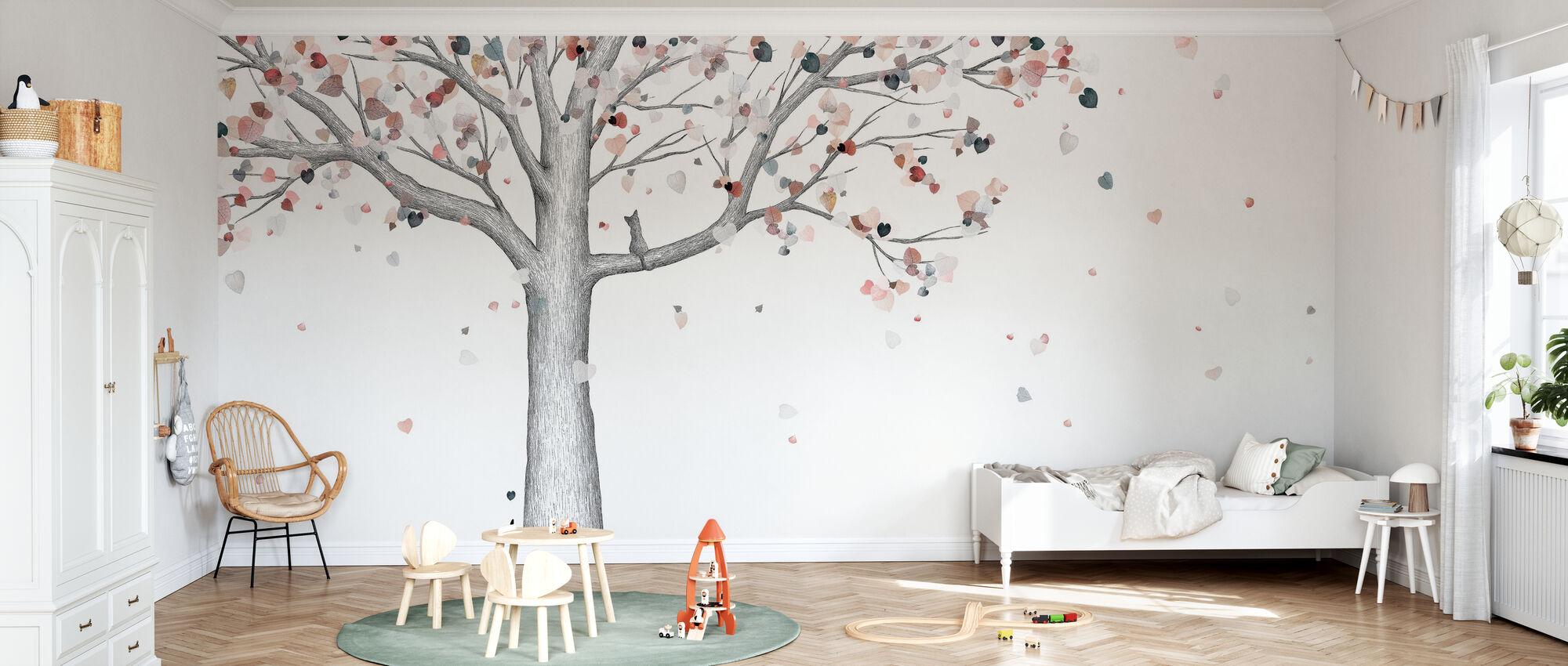 Herbst - Cat - Tapete - Kinderzimmer