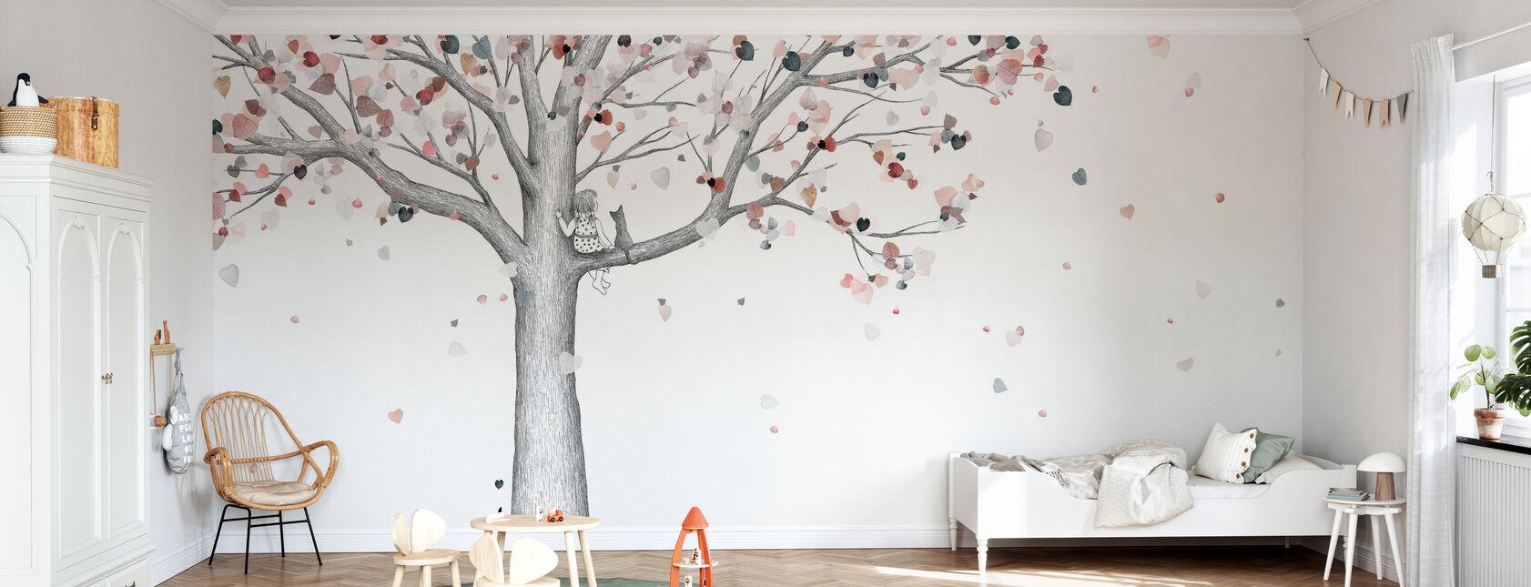 Herfst - Een meisje en haar kat - Behang - Kinderkamer