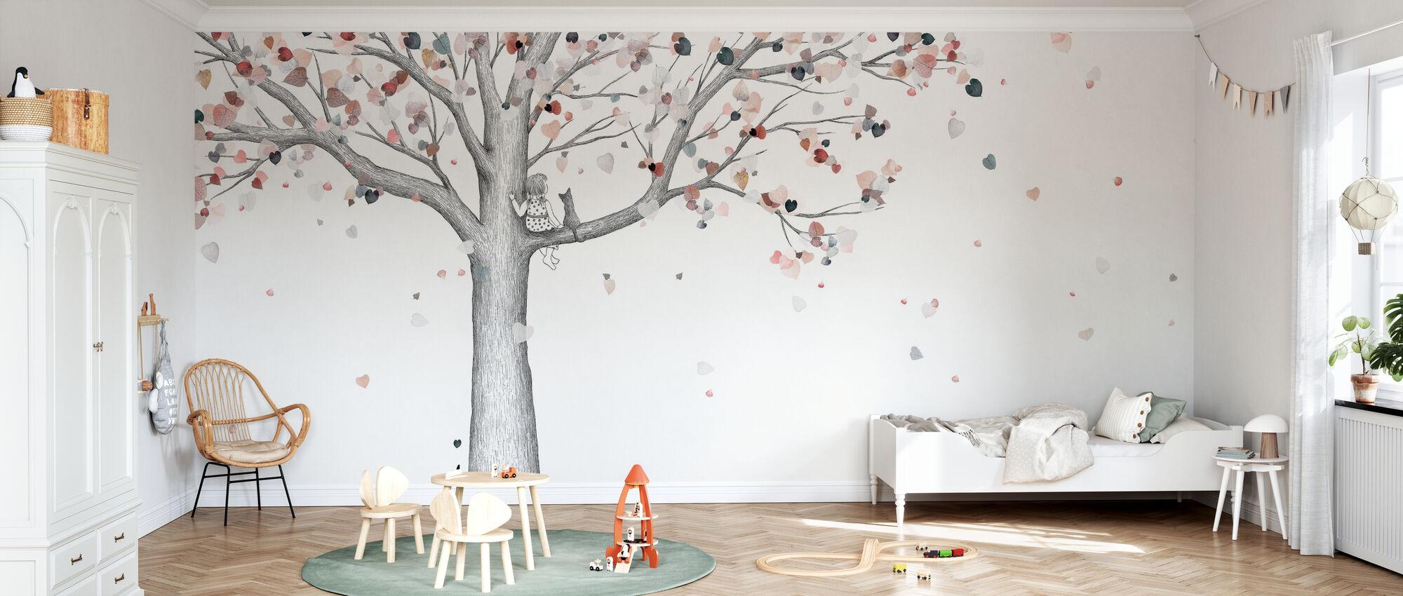 Herbst - Ein Mädchen und ihre Katze - Tapete - Kinderzimmer