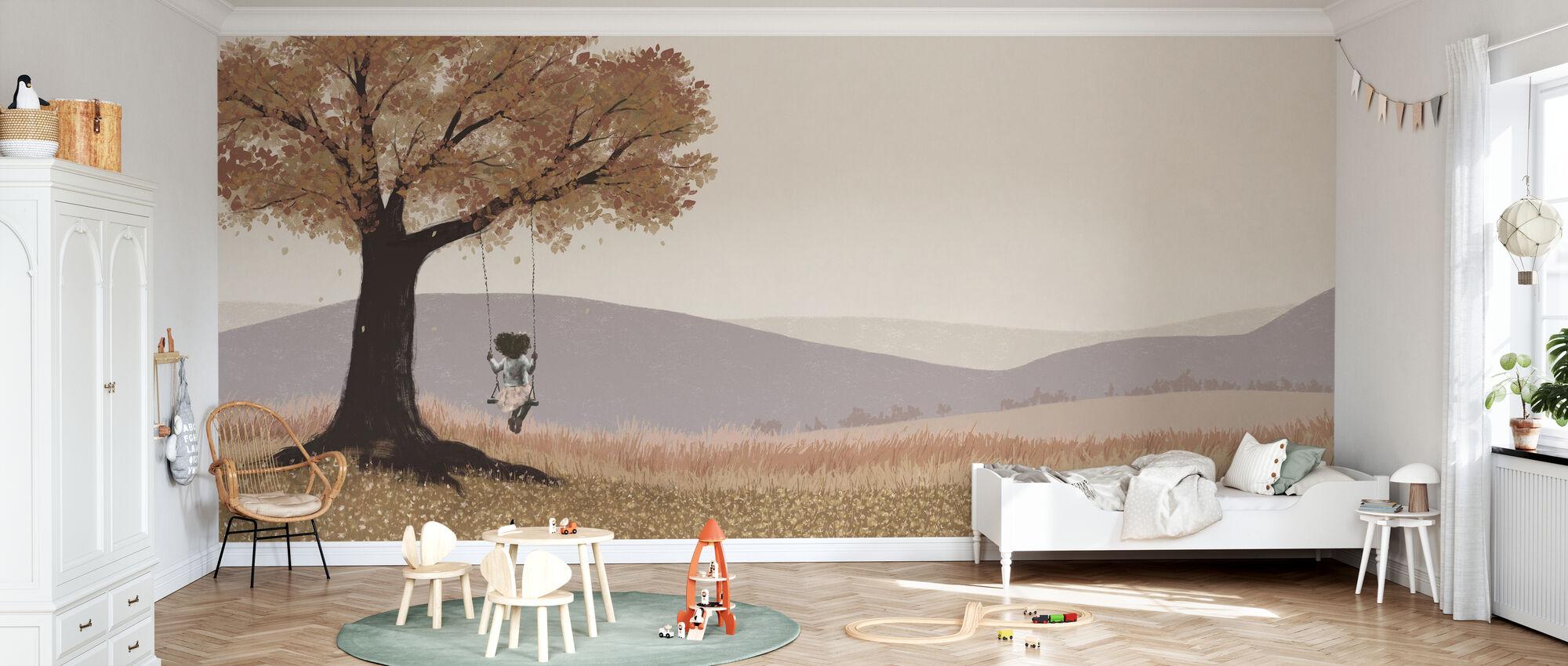 Fall Field - Girl on a Swing - Wallpaper - Kids Room