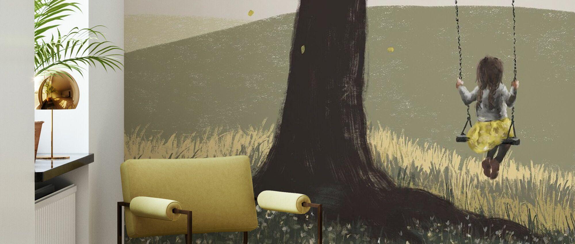 Fall Field Green - Girl on a Swing II - Wallpaper - Living Room