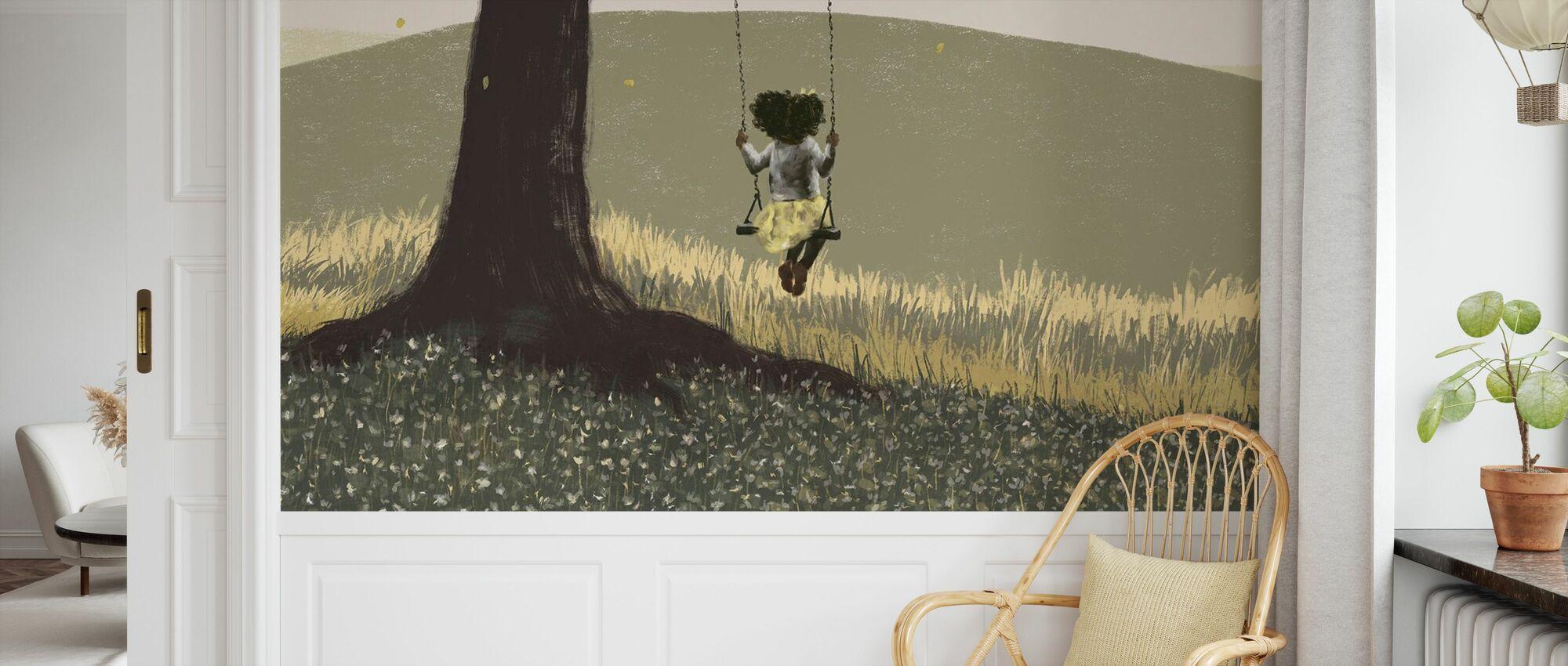 Fall Field Green - Mädchen auf einer Schaukel - Tapete - Kinderzimmer