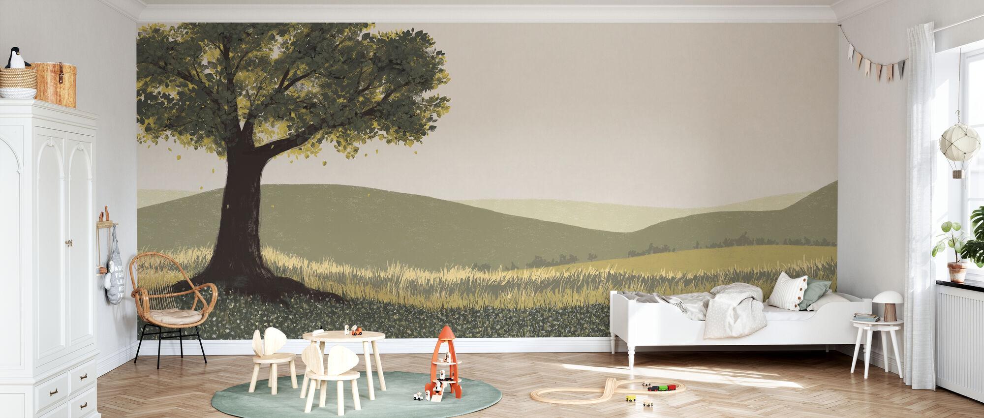 Fall Field Green - Wallpaper - Kids Room