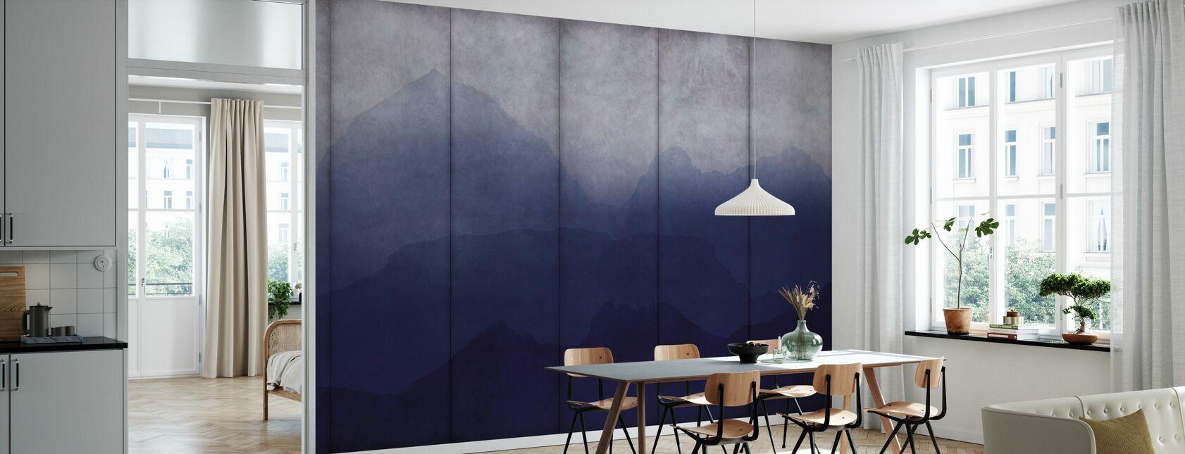 Beton Blauwe Topografie - Behang - Keuken
