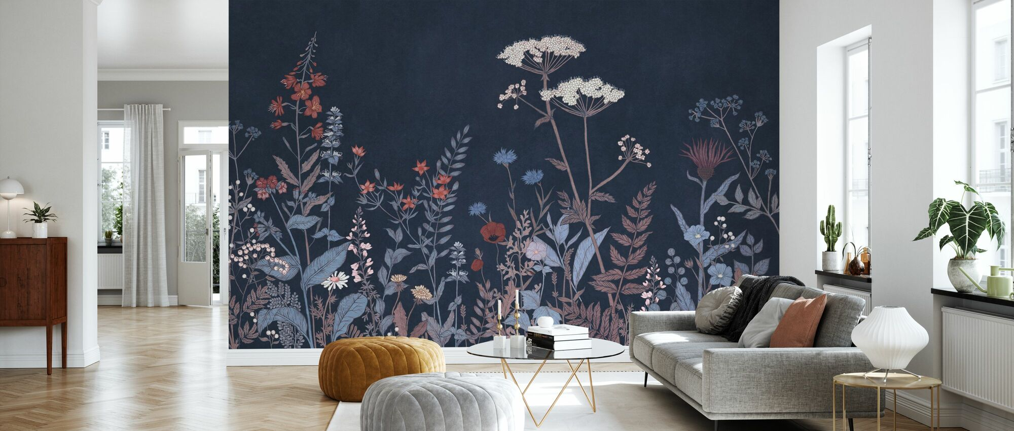 Its Blooming - Navy Blue - Wallpaper - Living Room