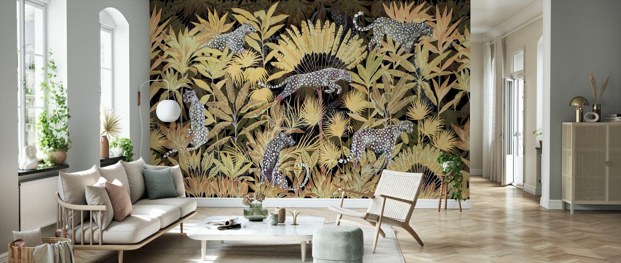 Lurking Cheetahs - Midnight - Wallpaper - Living Room