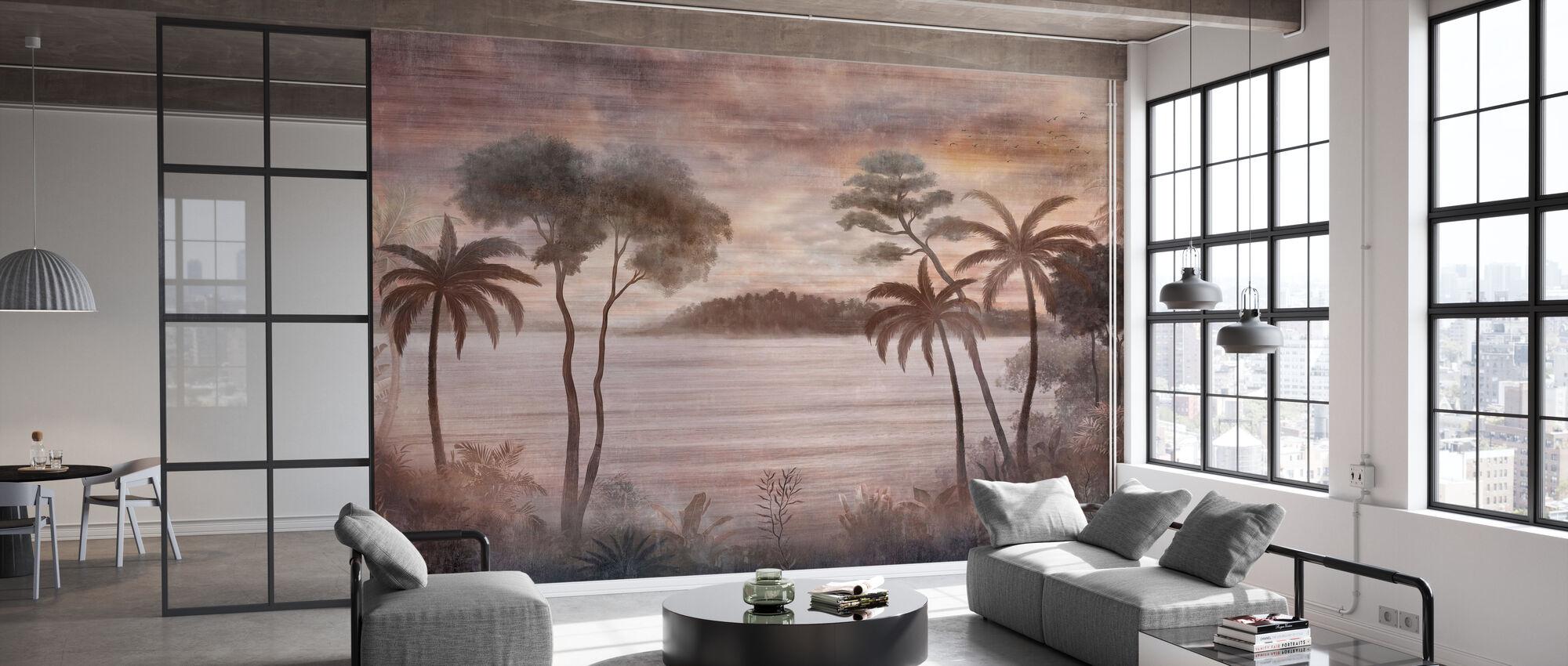 Tropical Misty Lake - Wallpaper - Office