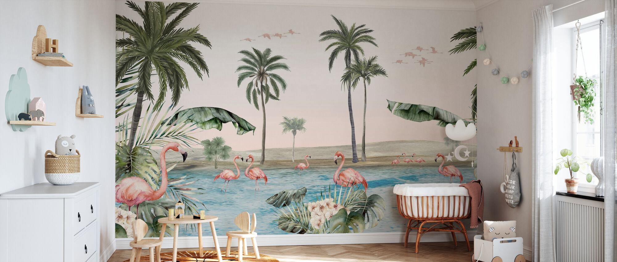 Flamingo Oasis - Wallpaper - Nursery