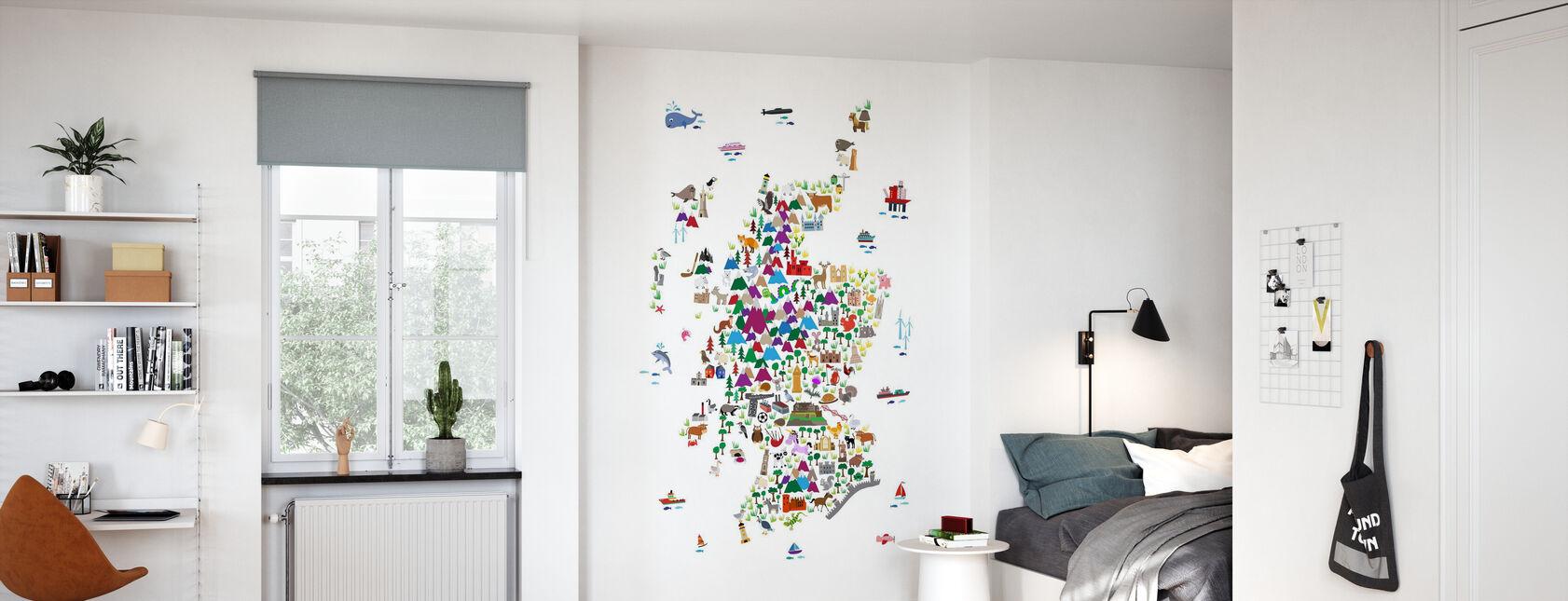 Animal Map - Scotland - Wallpaper - Kids Room