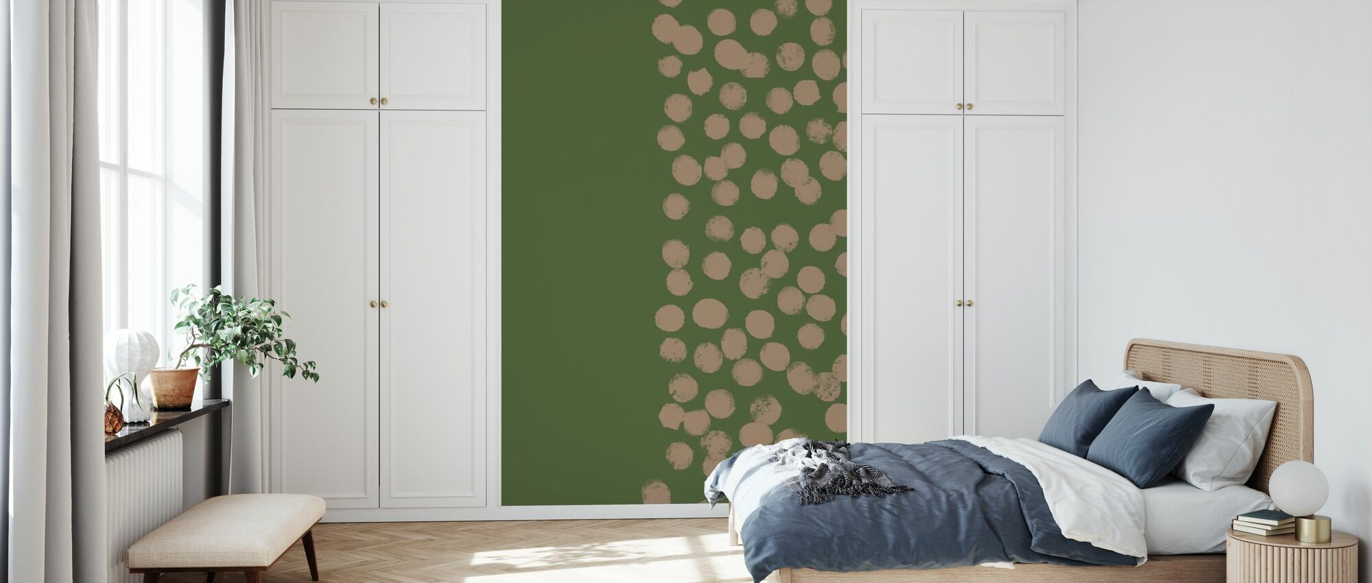 Hunting Green with Dots - Wallpaper - Bedroom