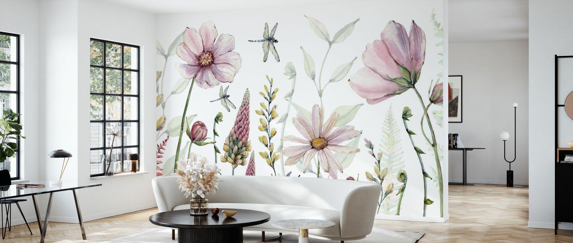 Fabelhafte Blumen - Tapete - Wohnzimmer