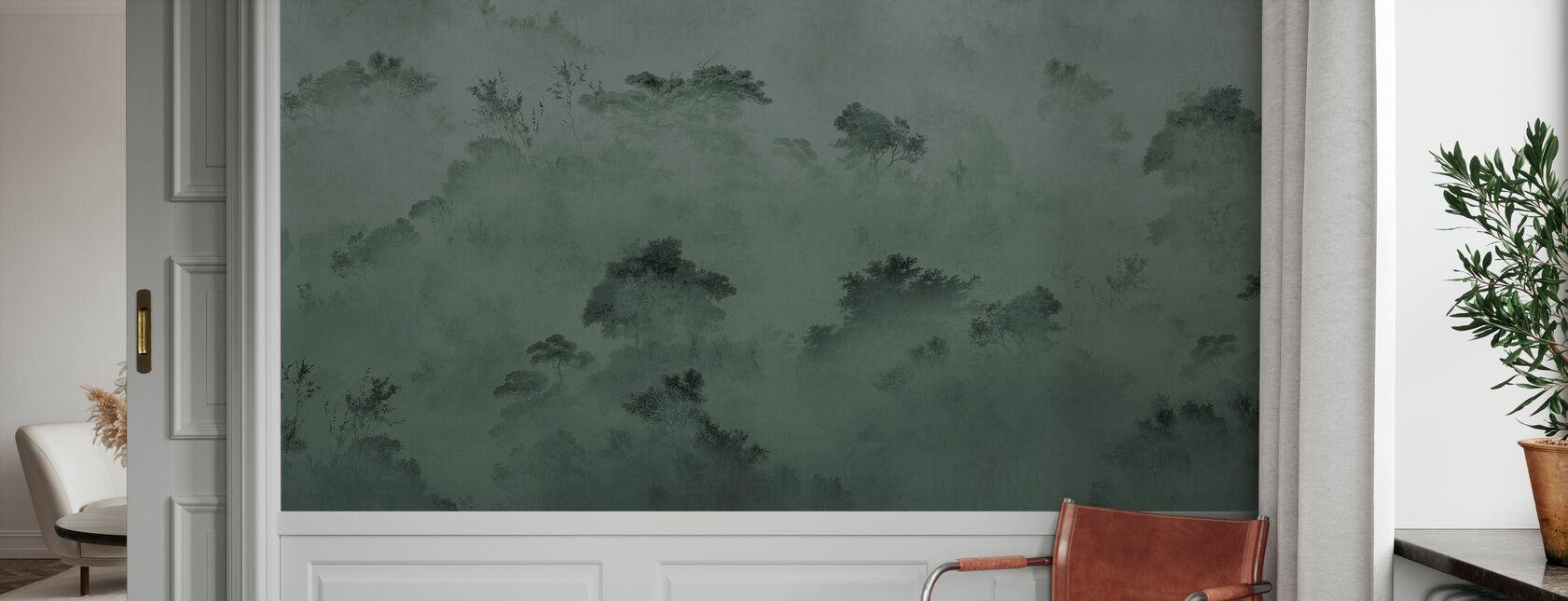 Forêt brumeuse - Vert - Papier peint - Entrée