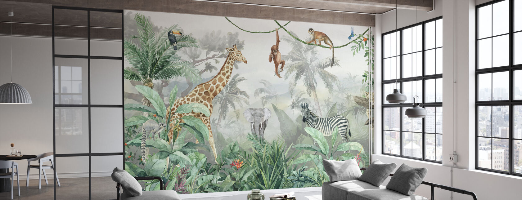 Jungle Friends with Jungle Background - Wallpaper - Office