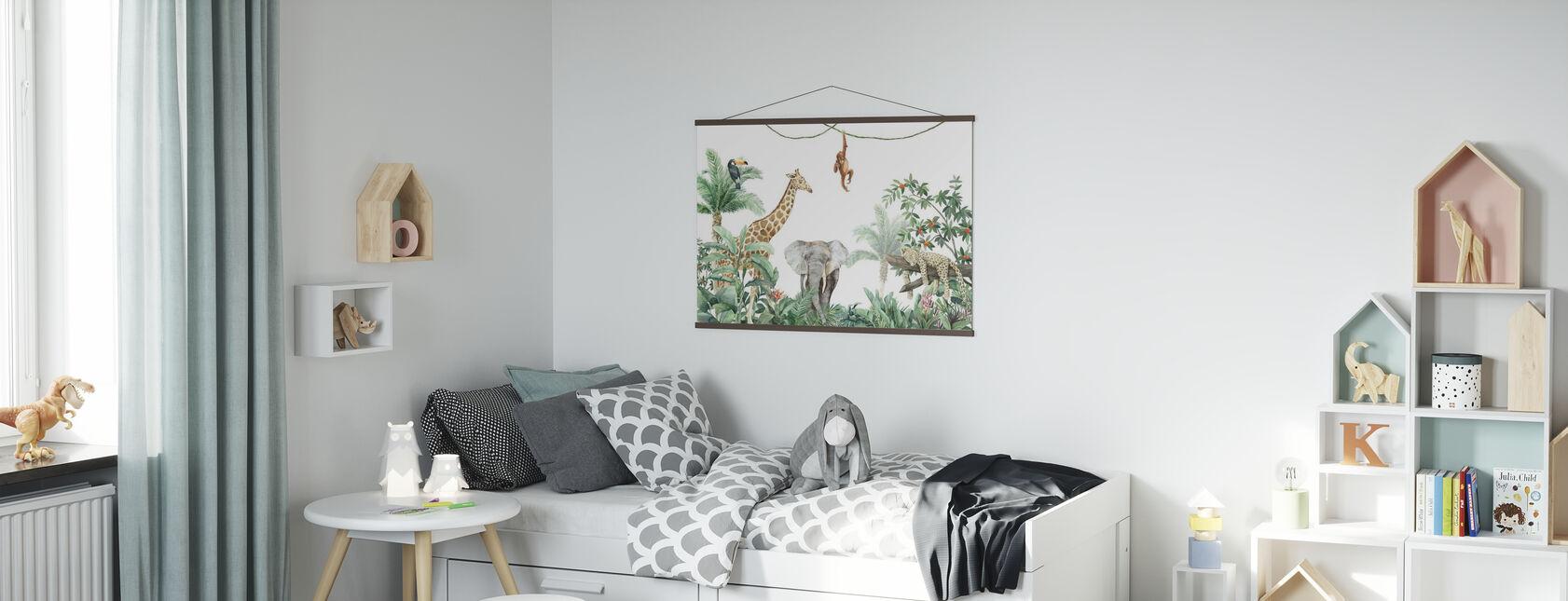 Jungle Friends met olifant - Poster - Kinderkamer