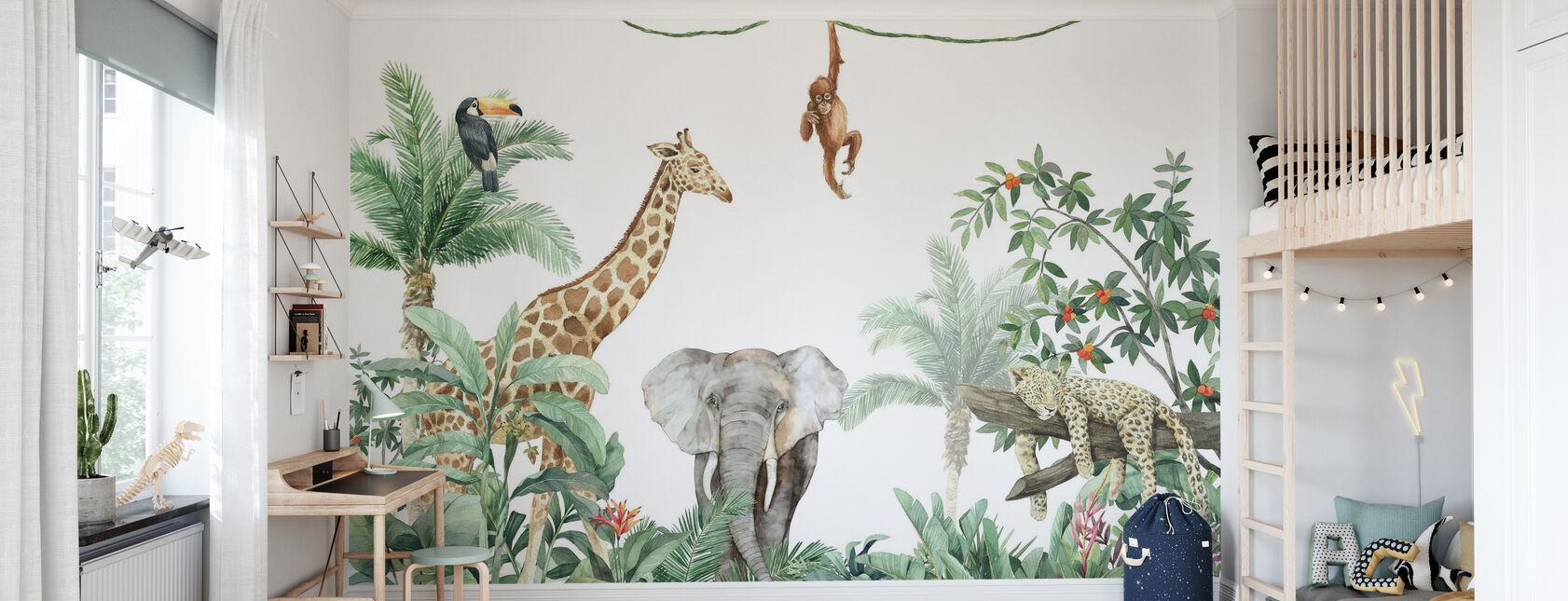 Jungle Friends met olifant - Behang - Kinderkamer