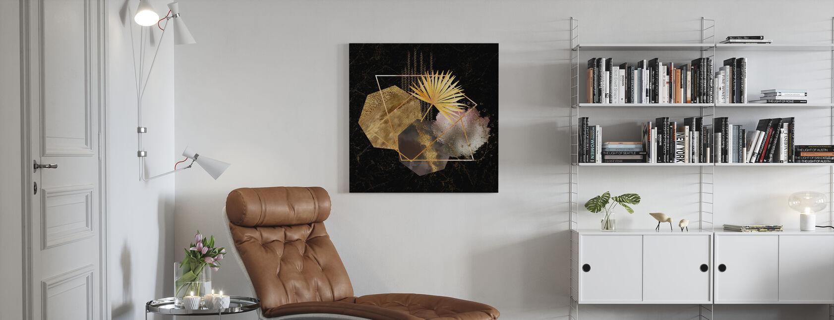 Gull og rødme rosa Geo - Lerretsbilde - Stue