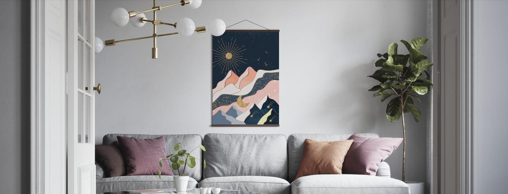 Sun Moon sterren en bergen - Poster - Woonkamer