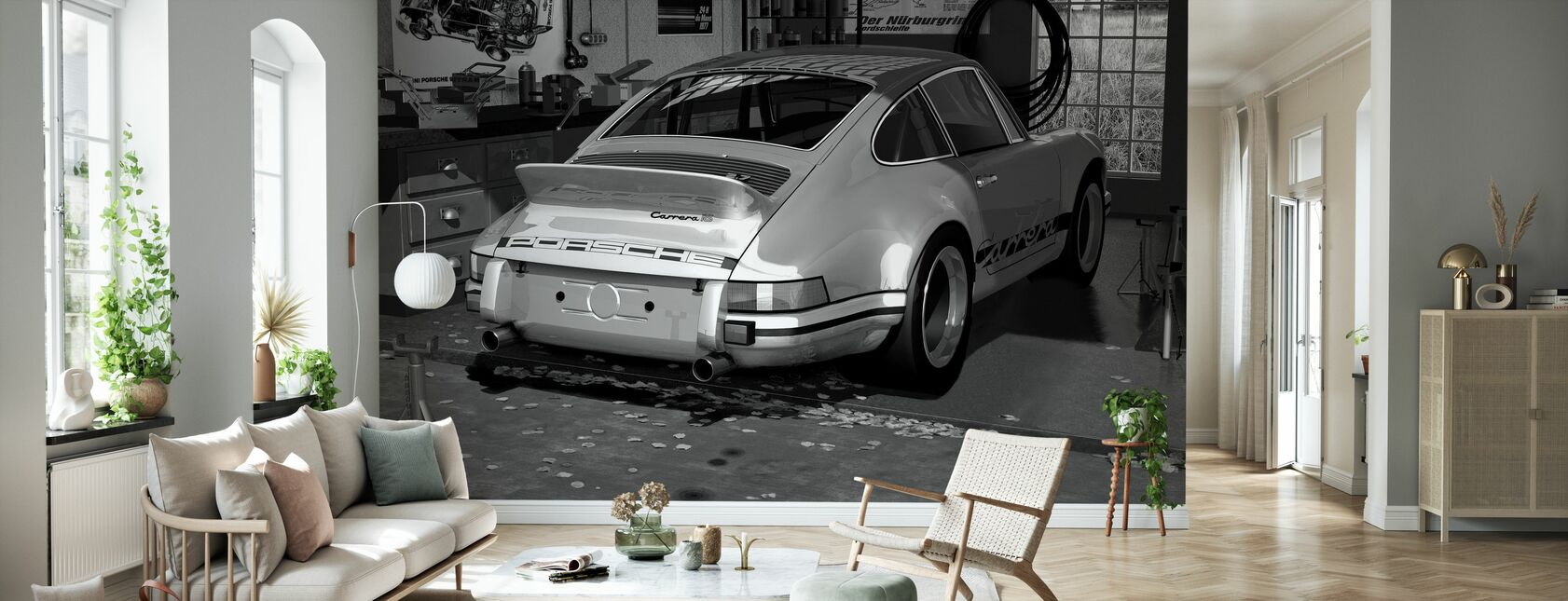 Second Car Only - Bw - Wallpaper - Living Room