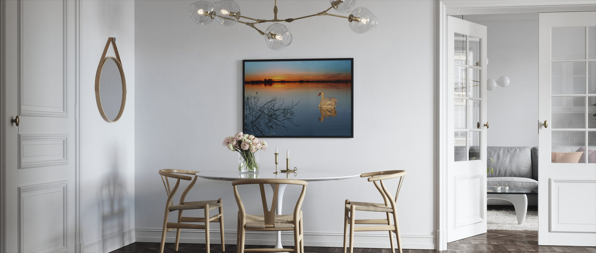 Swan on a lake - Framed print - Kitchen