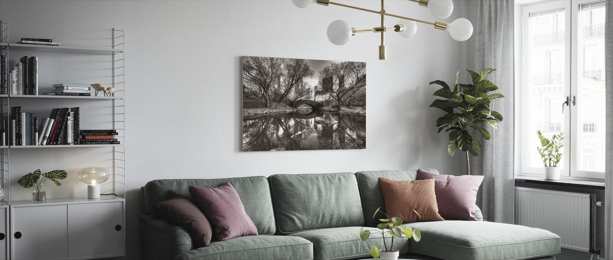 Bridge in Central Park, New York, USA - Canvas print - Living Room