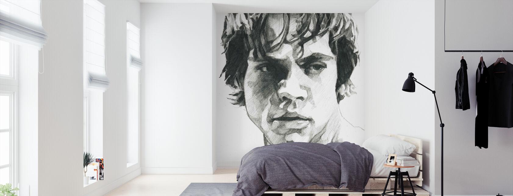 Star Wars - Luke Skywalker, colore: Grafite - Carta da parati - Camera da letto