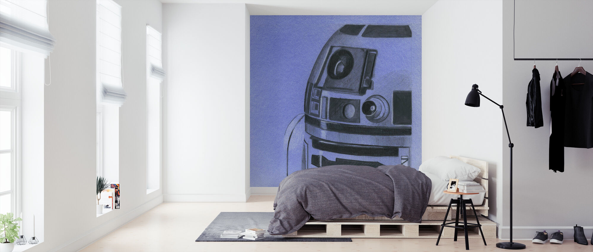 Star Wars - R2-D2 blå grafitt - Tapet - Soverom