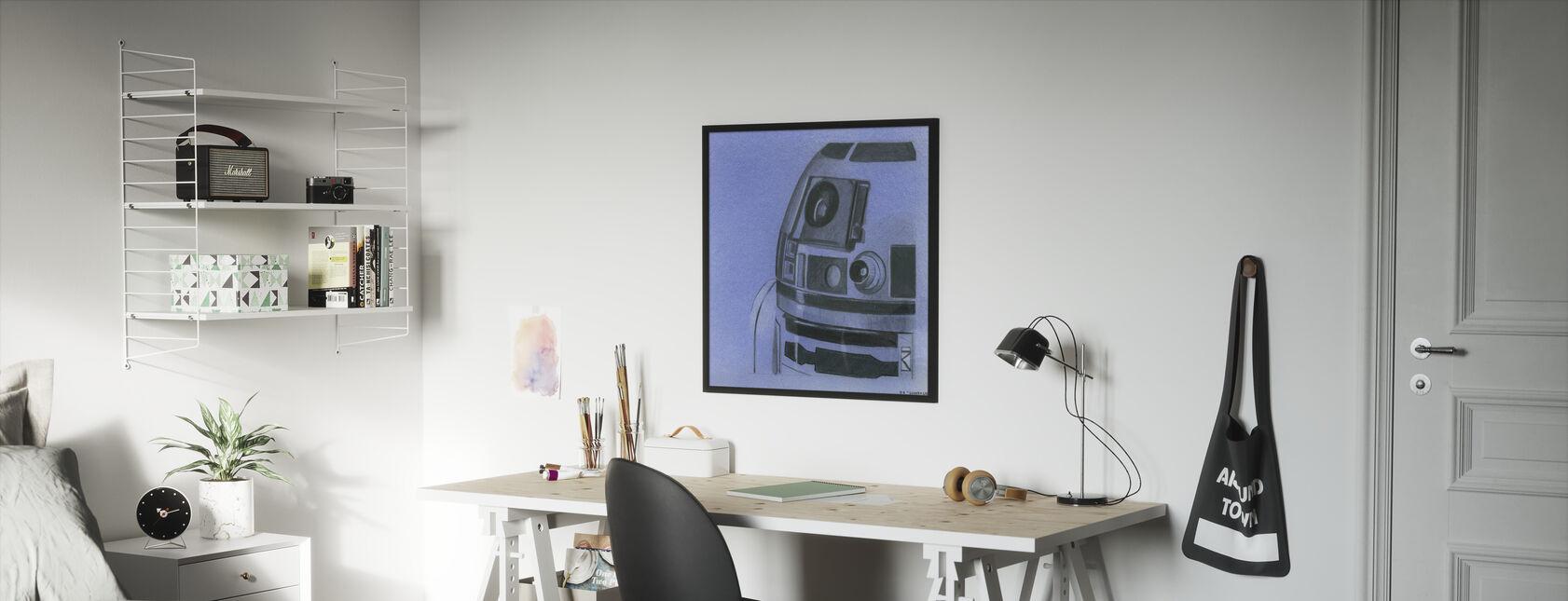 Star Wars - R2-D2, colore: Blu grafite - Stampa incorniciata - Camera dei bambini