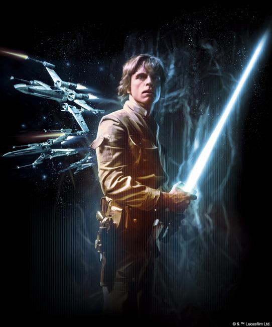 Star Wars - Luke Skywalker Lightsaber Fototapeter & Tapeter 100 x 100 cm