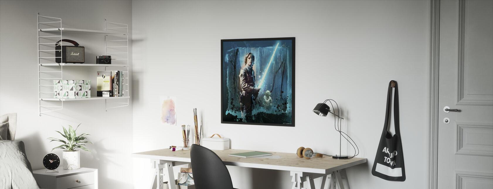 Tähtien sota - Luke Skywalker ja Yoda - Kehystetty kuva - Lastenhuone