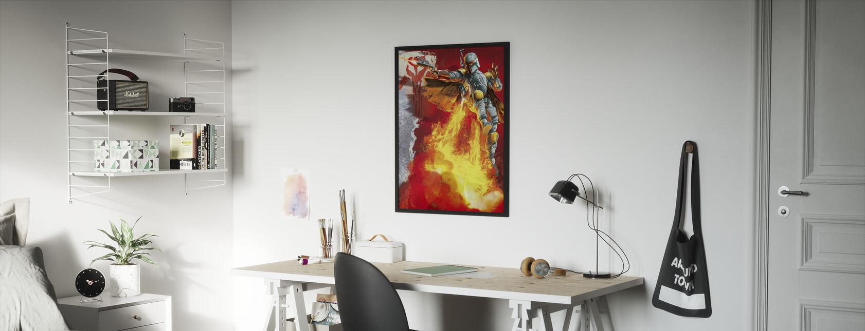 Tähtien sota - Boba Fett jetpack - Kehystetty kuva - Lastenhuone