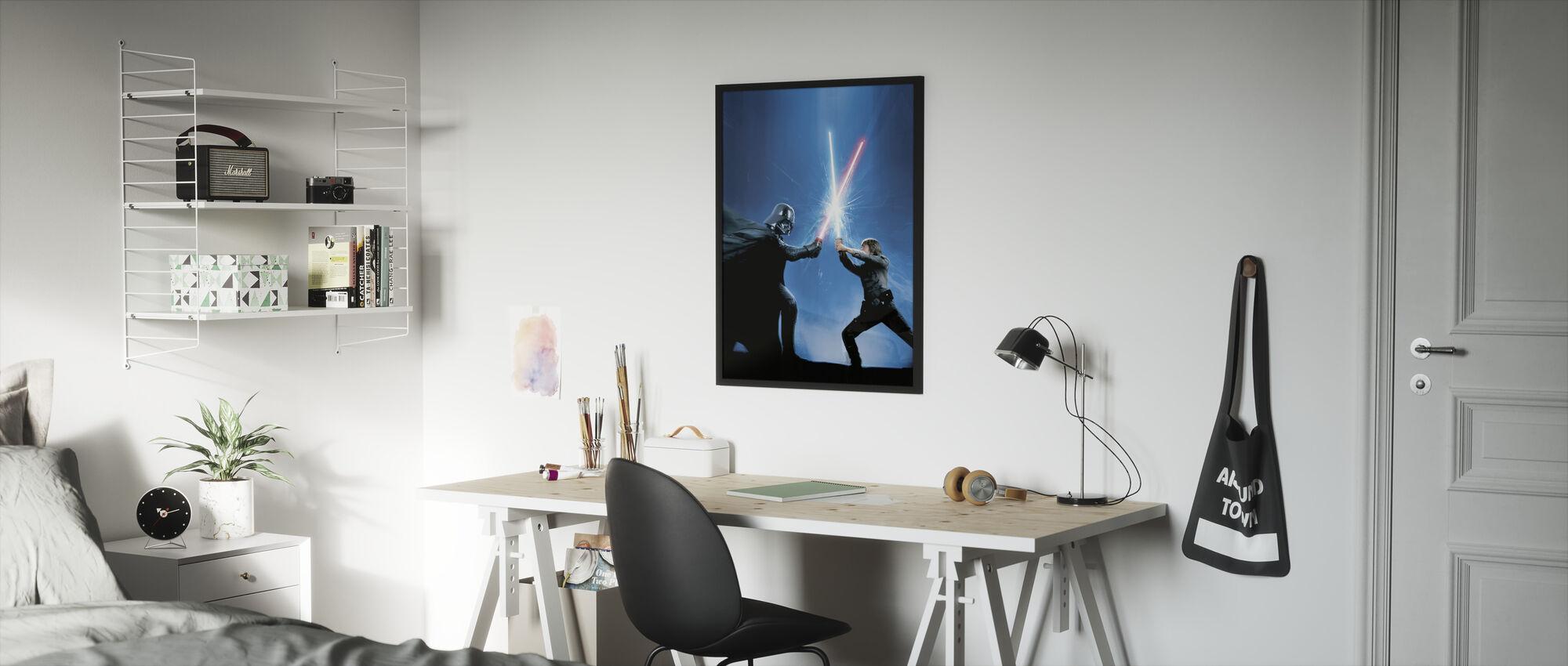 Tähtien sota - Darth Vader ja Luke Skywalker - Kehystetty kuva - Lastenhuone
