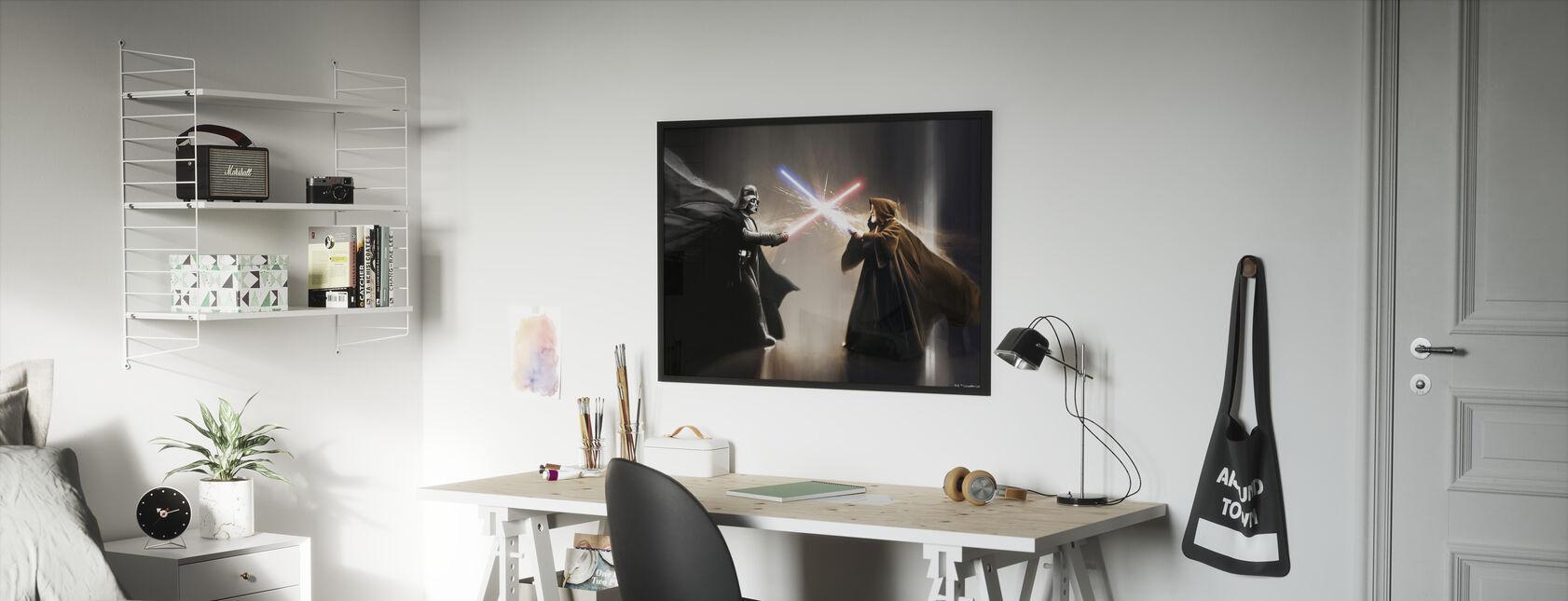 Tähtien sota - Darth Vader ja Obi-Wan Kenobi - Kehystetty kuva - Lastenhuone